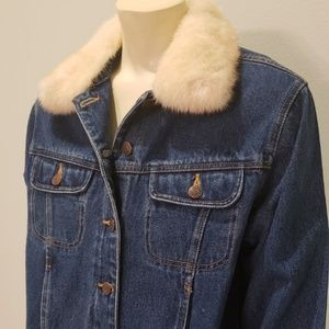 Bill Blass denim jacket mink fur collar Med Petite